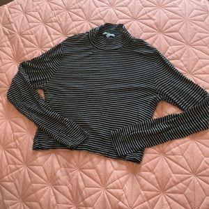 Stripped long sleeve mock neck crop top